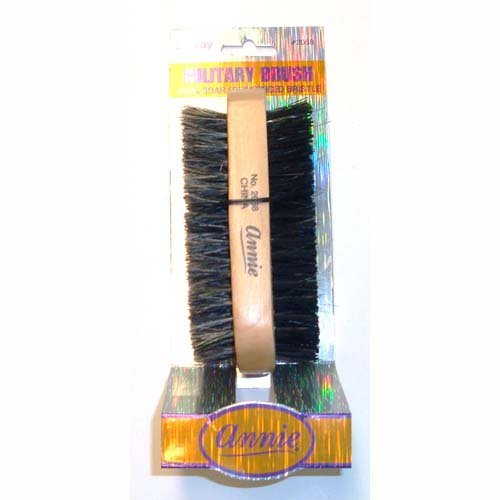 Annie 2 Way Wooden Military Brush #2068 - 2 pieces, Natural bristle, boar bristle, reinforced, wave, 2 sided brush, soft and hard bristle, no more tangles, for all hair types, short hair, long hair, straight, normal, oily, thick, thin, styling brush,