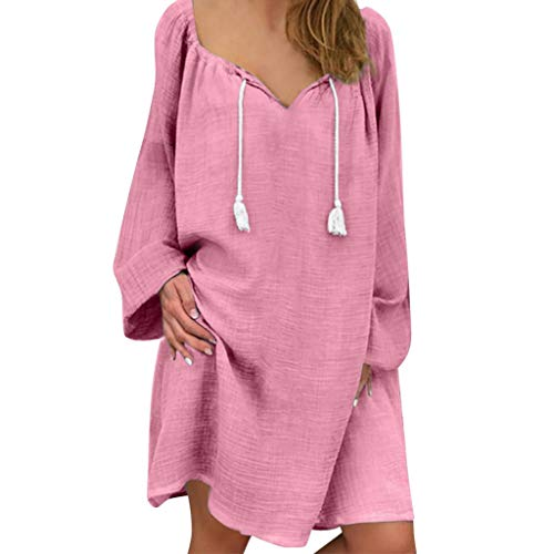 iBOXO Casual Cotton Long-Sleeved Shirt Dress Summer Holiday Loose Tassel Sundress(Pink,XL)