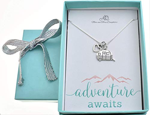 Camper Charm pendant in sterling silver accented with a silver-tone heart, on an 18