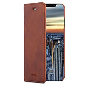 "iPhone X Flip Case Rose Gold - CASEZA ""Oslo"" PU Leather Premium Vegan Leather Wallet Book Folio Cover for the Original iPhone X (5.8 inch) - Ultra Thin with Magnetic Closure"