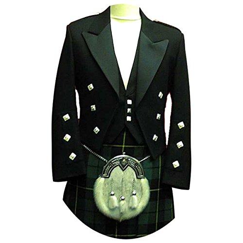 Traditional Scottish Woman Costume (9 Pcs Prince Charlie Jacket, Vest, Kilt, Kilt Belt, Sporran Outfit)