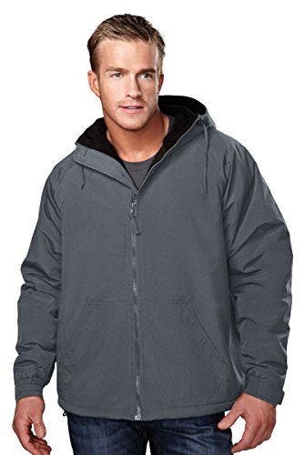 Tri Mountain Heavyweight Toughlan Nylon Hooded Jacket   8480 Conqueror  Charcoal   Black  X Large