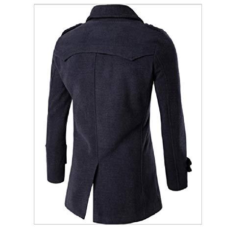 Woolen Mens Notch Breasted Coat Grey Jacket Solid XINHEO Dark Lapel Double IXqw5qd