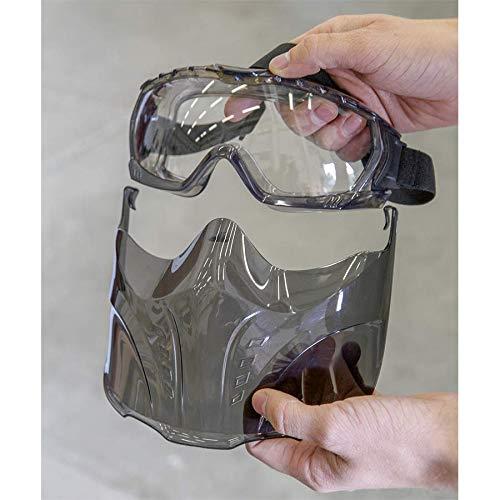 Interesantes gafas de protección con máscara desmontable para una mayor protección.