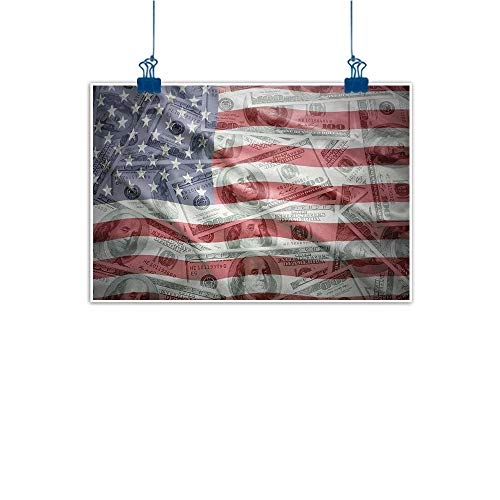 Sunset glow Simple Life Minimalist American Flag,American Dollar on Flag Money Currency Exchange Value Global Finance Idol,Multicolor 48