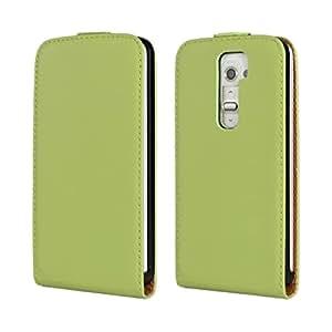 SHENGAA Carcasa Funda Caso Cartera Cuero Tapa Flip Case Cover Para LG G2 Green