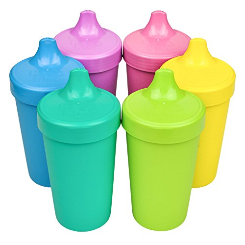 Re-Play Made in The USA, Set of 6 No Spill Sippy Cups - Aqua, Sky Blue, Purple, Bright Pink, Yellow, Green(Sorbet) (Best No Spill Sippy Cup)