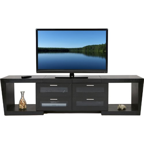 (Plateau Valencia 5187 B Wood Expandable TV Stand, 51-Inch to 87-Inch, Black Oak Finish)