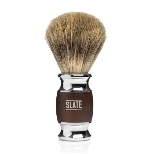 Pure Badger Shaving Brush by Slate Shave- 20m Wide Knot - Faux Rosewood Handle - High Quality Hair and Bristles for the Best in Wet (Kingsley Brush)