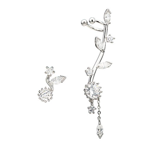 - Chicinside CZ Crystal Sun Flower Sweep up Left Ear Cuffs Earrings Stud Set (silver-plated-base)