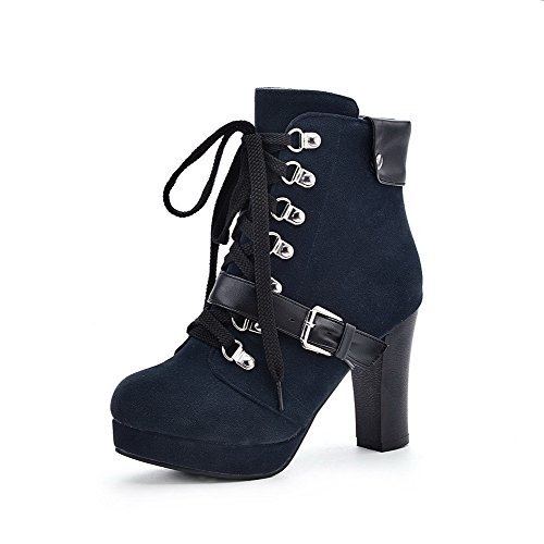 PU Heels Chunky and Blue Round Heels Boots Bandage Closed Platform WeiPoot Solid Womens and with High buckle Toe wHX4qxYSq