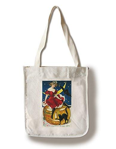Halloween Greetings Woman on Jack-o-Lantern - Vintage Holiday Art (100% Cotton Tote Bag - Reusable)