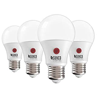 Sunco Lighting 4 Pack A19 LED Bulb with Dusk-to-Dawn, 9W=60W, 800 LM, 2700K Soft White, Auto On/Off Photocell Sensor - UL