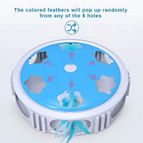 DADYPET Interactive Cat Toy, Electric Cat Toy with Bell Spinning Rotating Feather, Automatic Teaser Exercise Kitten Toy for Cat Entertainment, Training or Hunting(Battery Included) 4