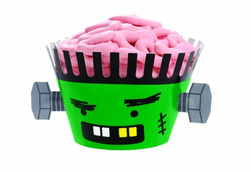 Wilton 415-0512 Halloween Frankenstein Cupcake Wraps, 12 Count ()