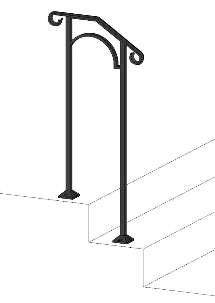 Iron X Handrail Arch #1 (Concrete Steps) by Iron X Handrail