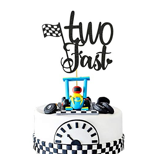 HEETON Two Fast Cake Topper Race Car Racing Second Boy Girl Chequered Flag Birthday Party Supplies