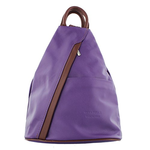 Soft F264 Leather Rucksack Soft Backpack Shoulder Brown Handbag Leather Purple B5w6wq0R