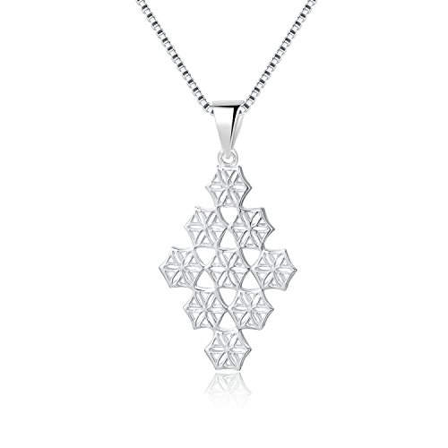 Chandelier Necklace Pendant (MBLife 925 Sterling Silver Flower Pattern Snowflake Chandelier Pendant Necklace (16