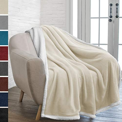 PAVILIA Premium Sherpa Throw Blanket for Couch Sofa | Super Soft, Cozy, Plush Microfiber Throw for Chair | Reversible Warm Flannel Fleece Solid Blanket(Latte Beige, 50 x 60 Inches)