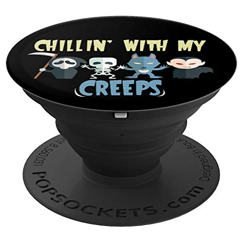Chillin With My Creeps - Funny Halloween Pun - PopSockets Grip and Stand for Phones and -