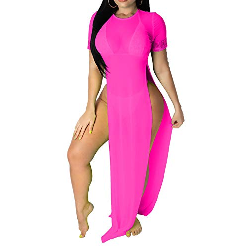 - Women's Sexy Three Piece Outfits Mesh See Through Bikini Cover up Slit Dresses Beach Swimsuit Set Plus Size Pink M