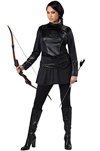 Fun World Women's Plus-Size Warrior Huntress Costume, Black, 2XL -