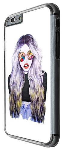 995 - Cool fun cute fashion girl sunglasses hair make up catwalk clothing illustration blogger Design For iphone 6 6S 4.7'' Fashion Trend CASE Back COVER Plastic&Thin Metal -Clear