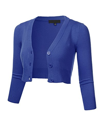 (FLORIA Women's Solid Button Down 3/4 Sleeve Cropped Bolero Cardigan Sweater RoyalBlue)