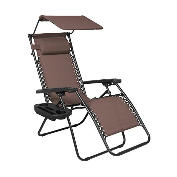 Best Choice Products Zero Gravity Chair with Canopy Sunshade - Brown