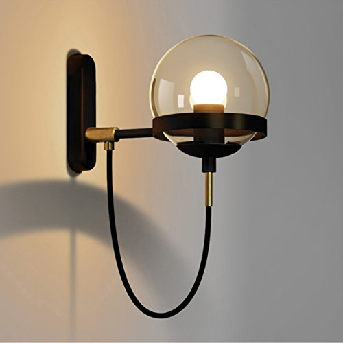 LightInTheBox Retro Glass American Glass Ball Wall Light Modern Simple Style Wall Sconces 60W Wall Lighting Fixture Bedroom Living Room Cafe Hotel Lighting Wall Light (Bronze)