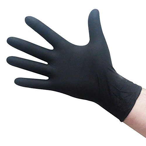 Black Nitrile Gloves - X-Large - Industrial, Powder-Free, USDA Accepted, FDA Compliant, Latex-Free, Puncture Resistant - 5 mil/5.5 mil. Painting, Gardening, Chemical Handling, Food Prep, Janitorial