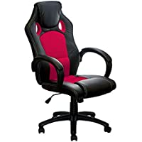 ALEKO ALC2324RED High Back Office Chair Ergonomic Computer Desk Chair PU & Mesh Upholstered, Red