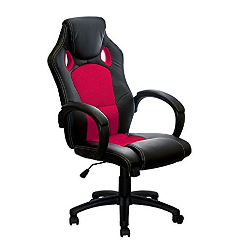 ALEKO ALC2324RED High Back Office Chair Ergonomic Computer Desk Chair PU U0026  Mesh Upholstered, Red