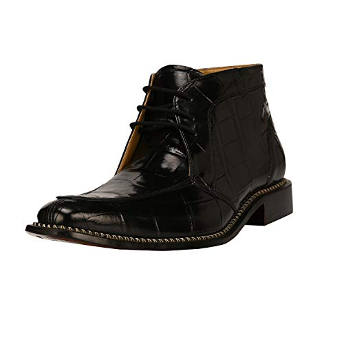 Liberty Men's Crocodile Print Ankle High Top PU Leather Lace Up Dress Shoes Black