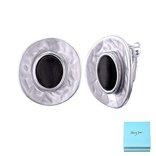 - Clip On Stud for Women - Antique Silver Big Disc Circle Black Earrings Ear Drop for Non Pierced Ears Earring Bohemian Shell Stud Handmade Boho Bridal Earrings for Bride Bridesmaids Party Prom