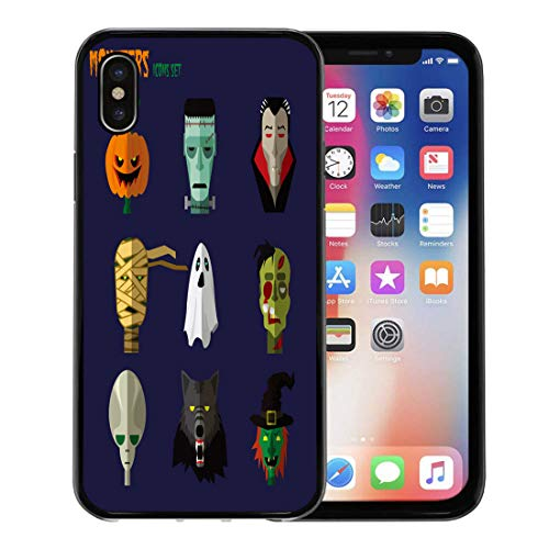 Semtomn Phone Case for Apple iPhone Xs case,Orange Flat Halloween Monster of Pumpkin Ghost Dracula Zombi Werewolf Frankenstein Alien Mummy Vintage for iPhone X Case,Rubber Border Protective Case,Black]()