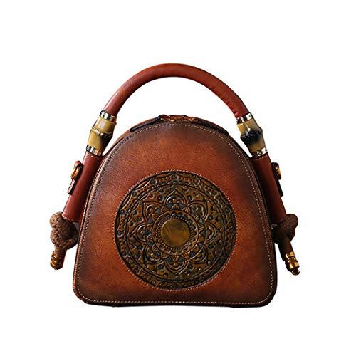 YWSYJ Women Genuine Cow Leather Handbag Retro Top-Handle Tote Bags Shoulder Bag for Work, Dating, Gatherings,etc. Vintage Embossed Series(Glazed Brown)