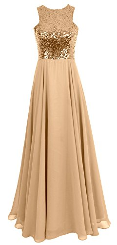 Dress Evening MACloth Gown Bridesmaid Long Formal Wedding Chiffon Sequin Women Champagner FnqOFY8