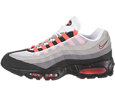 dc41731511 Galleon - NIKE Air Max 95 Mens Running Shoes [609048-106] White/Solar Red-Neutral  Grey-Medium Grey Mens Shoes 609048-106-8.5