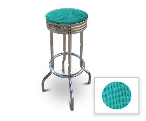 Cheap New 24″ Tall Chrome Metal Finish Swivel Seat Bar Stool with Teal Burlap Seat Cushion!