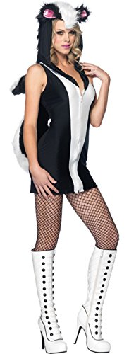 GTH Women's Stinking Cute Skunk Hooded Outfit Fancy Dress Sexy Costume, M/L (10-14) (Skunk Costume Adult)