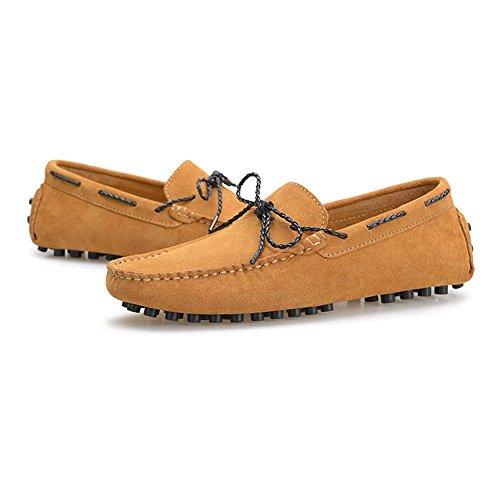 shoes Loafers para Zapatos Suede Caucho Studs Mocasines Mocasines los EU Barco Hombres Marrón 42 Penny Sole Vino Genuino Conducción Color tamaño Minimalism Shufang Cuero Ligero Hombre de 2018 dA7P5dxn