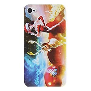 JAJAY- Maiden and Elk in Christmas Pattern PC Hard Case with Transparent Frame for iPhone 4/4S