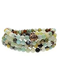 AmorWing 108 Mala 6mm Amazonite Bead Elastic String Buddhist Prayer Bracelet 6mm
