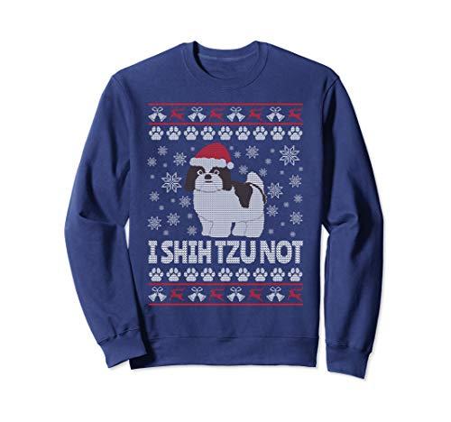 Shih Tzu Ugly Christmas Sweatshirt - I SHIH Tzu Not (Shih Sweater Christmas Tzu)