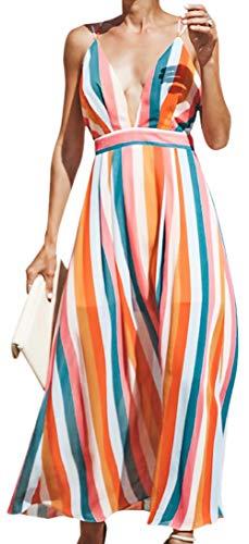(Women's Sexy Spaghetti Strap Deep V Neck Backless Rainbow Print Cross Back Beach Maxi Party Dress Size XL(US 10) (Orange))