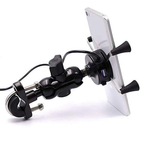KUMEED Universal Rotating Motor X-Grip Clamp Mount Bike Phone Holder with USB Charging Port Black