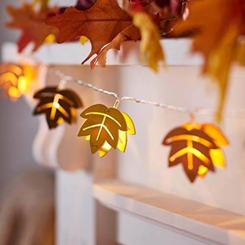 Lights4fun, Inc. 20 Wooden Fall Leaf Battery Operated LED Thanksgiving Indoor String Lights (Fall Lights Leaf)