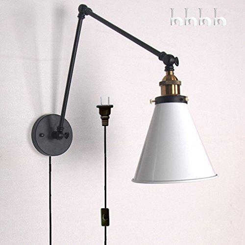 Single Swing Arm Floor Lamp (Kiven Metal Plug-In swing arm Pastoral Warehouse Western Restaurant Coffee Shop Decorative Wall Lamp blub included(BD0240))